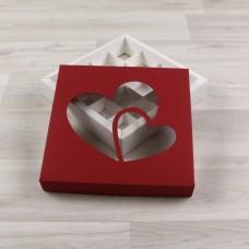 Коробка Грейп красный окно прозрачное