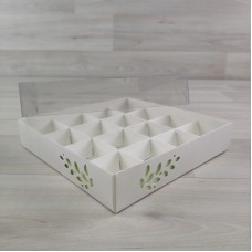 Коробка Имир 16 (160х160х30) декор салатовый