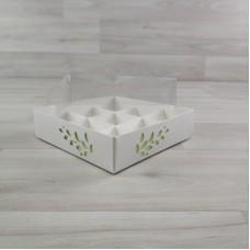 Коробка Имир 9  (120х120х30) декор салатовый