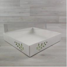 Коробка Имир 16 (160х160х30) без разделителей декор салатовый