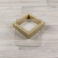 Коробка 1 фигурка (115х115х30мм) крафт с прозрачной крышкой