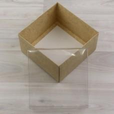 Коробка Атлас крафт с прозрачной крышкой