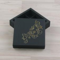 Коробка Нереида 9 зеленый мох с тиснением