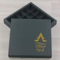 Коробка Нереида 25 зеленый мох с тиснением