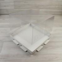 Коробка Торт белый с прозрачной крышкой
