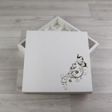 Коробка Элара 25 белый с тиснением