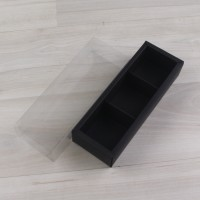 Коробка Карме 3 черный гладкий с прозрачным шубером