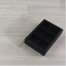 Коробка Карме 6 черный гладкий с прозрачным шубером