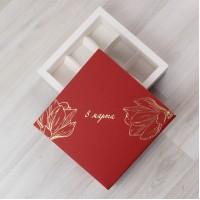 Коробка Паллена 9 красный с тиснением